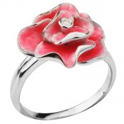 Серебряное кольцо с эмалью и фианитом