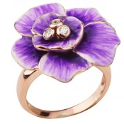 Серебряное кольцо с эмалью и фианитами