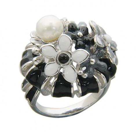 Серебряное кольцо с эмалью и жемчугом