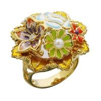 Серебряное кольцо с эмалью, жемчугом и фианитами