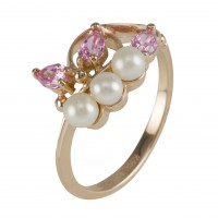 Кольцо с жемчугом и кристаллами Swarovski