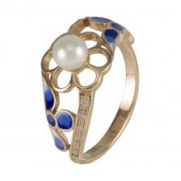 Кольцо с жемчугом,фианитами и эмалью