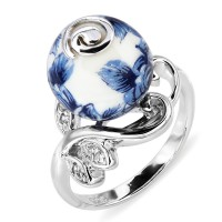 Серебряное кольцо с акрилом и фианитом
