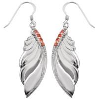 Серебряные серьги с красным сапфиром