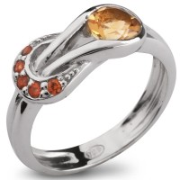 Серебряное кольцо с цитрином и оранжевым сапфиром