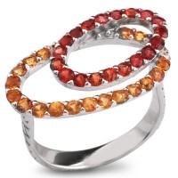 Серебряное кольцо с оранжевым сапфиром и красным сапфиром