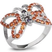 Серебряное кольцо с оранжевым сапфиром и голубым сапфиром
