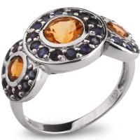 Серебряное кольцо с цитрином и голубым сапфиром