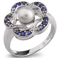 Серебряное кольцо с жемчугом и голубым сапфиром
