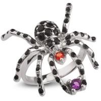 Серебряное кольцо с ониксом, шпинелью и аметистом