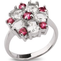 Серебряное кольцо с аметистом и родолитом