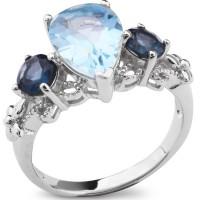 Серебряное кольцо с голубым топазом и топазом Лондон