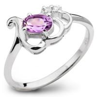 Серебряное кольцо с аметистом и фианитом