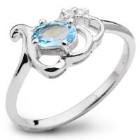 Серебряное кольцо с топазом и фианитом