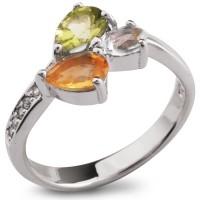 Серебряное кольцо с перидотом, топазом и цитрином