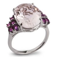 Серебряное кольцо с горным хрусталем и аметистом