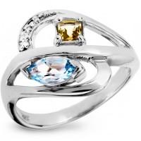 Серебряное кольцо с топазом, цитрином и фианитом
