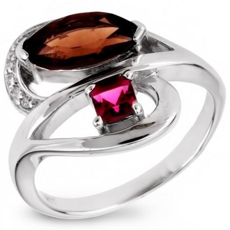 Серебряное кольцо с дымчатым кварцем, родолитом и фианитом
