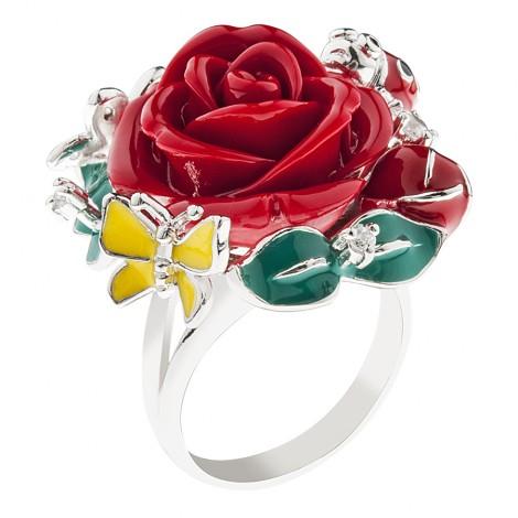 """Кольцо с фианитами и эмалью """"Роза"""""""