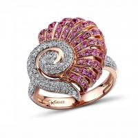 """Кольцо с сапфирами и бриллиантами """"Женственность"""""""